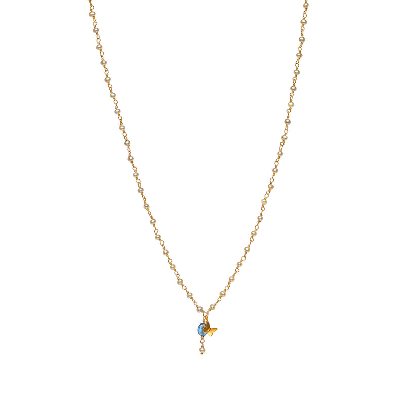 Tiny Grey Pearl Charm Necklace with Butterfly Charm and Tanzanite Drop