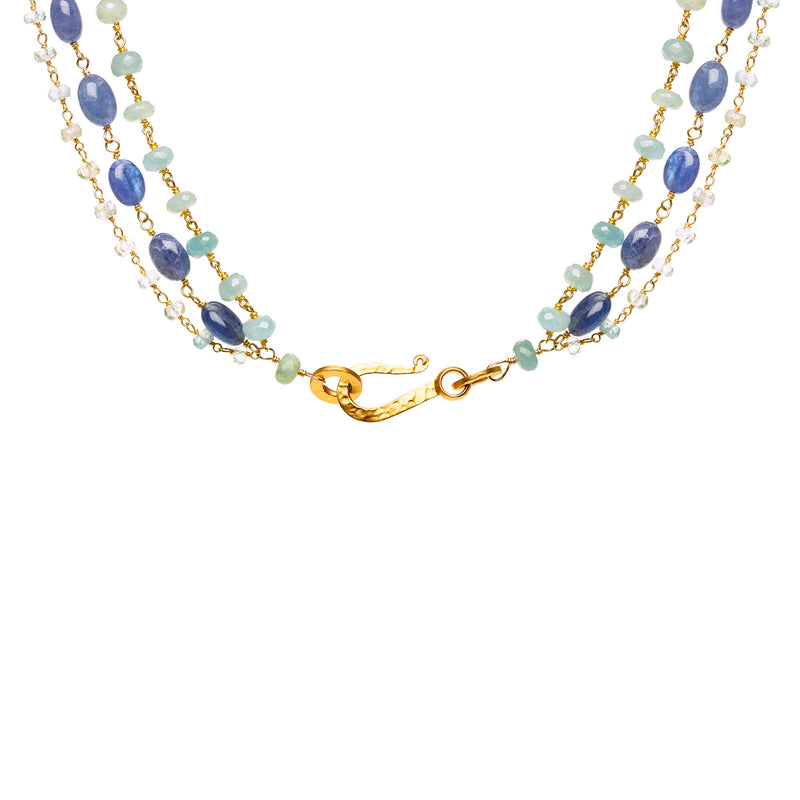"""Tranquil Blues"" three tiered necklace"