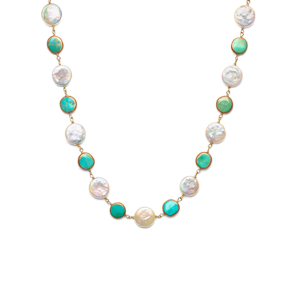 Turqouise Bean and Coin Pearl Necklace