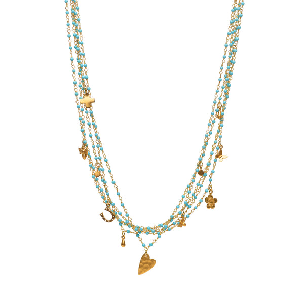 Kingman Turquoise Charm Necklace