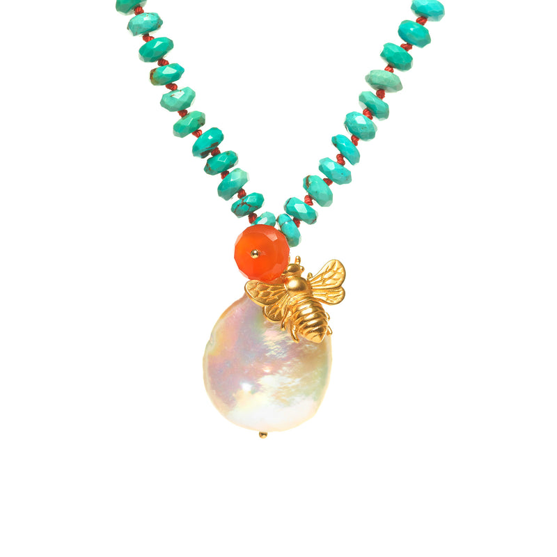 Kingman Turquoise with Pearl and Bee Necklace