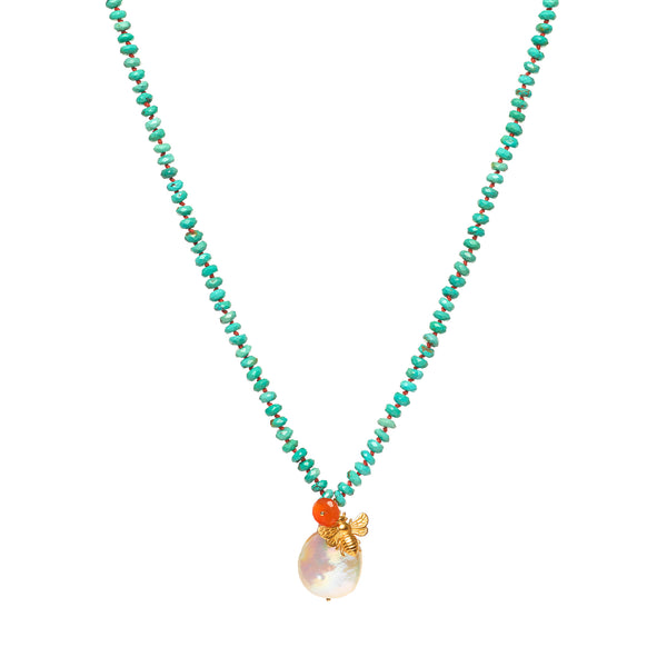 Kingman Turquoise with Pearl and Cross Necklace