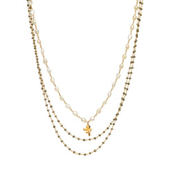 Pyrite and Pearl Triple Strand with Cross Charm Necklace