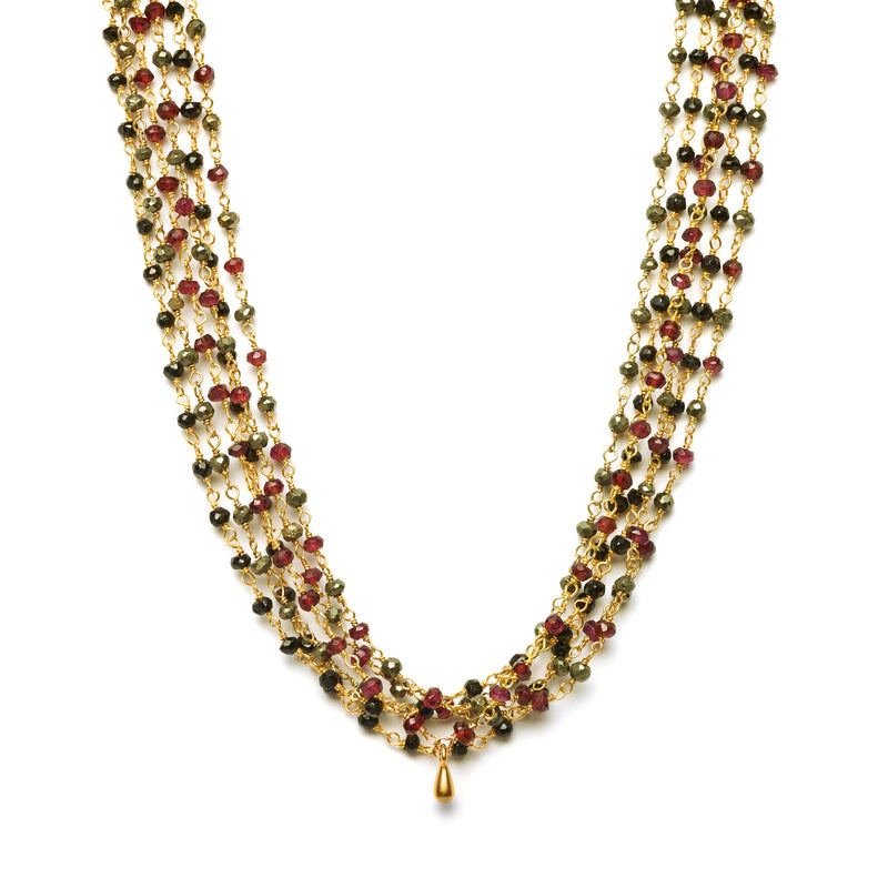 2mm Layering Chain Black Spinel Beaded Necklace