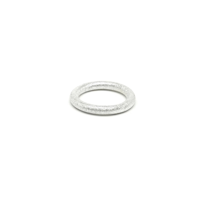 Single Round Band in Silver, Textured