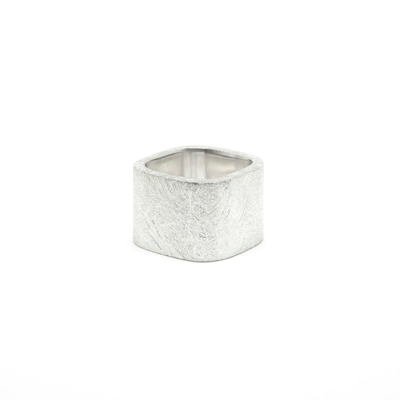 Silver Large Square Ring