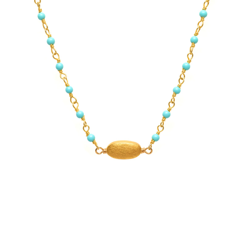 Kingman Turquoise with Gold Bead Charm