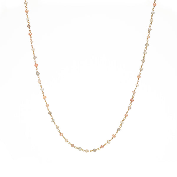 2mm Pink and Grey Moonstone Beaded Necklace