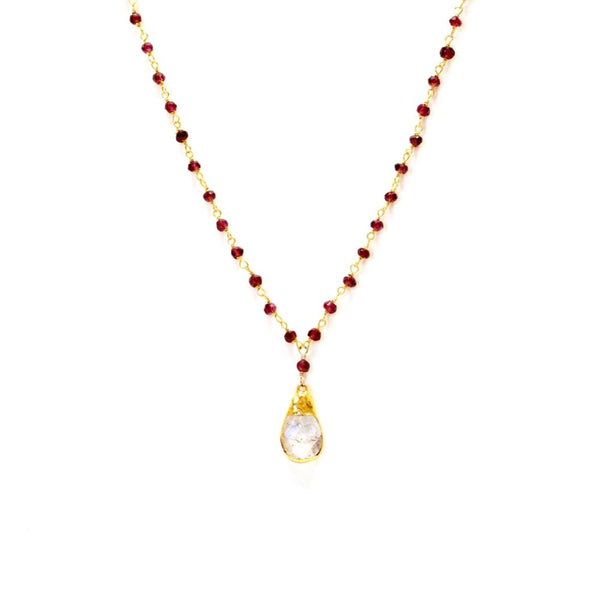 Faceted Crystal and Garnet Beaded Necklace