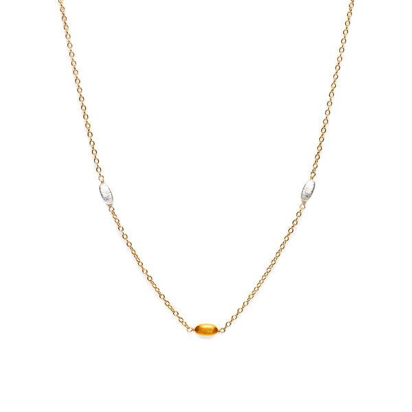 Two Tone Gold and Silver Bean Chain 18""