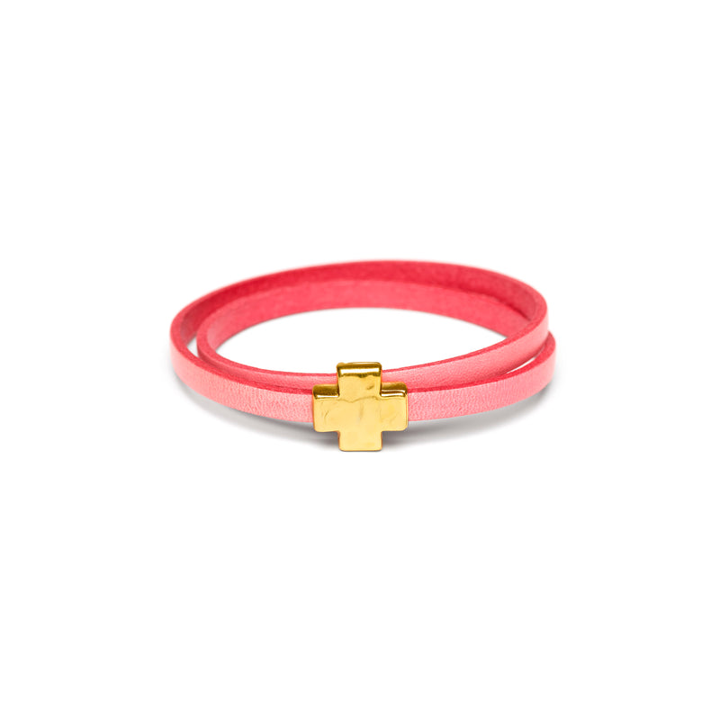 """Wrap it up"" bracelet with Gold Cross"
