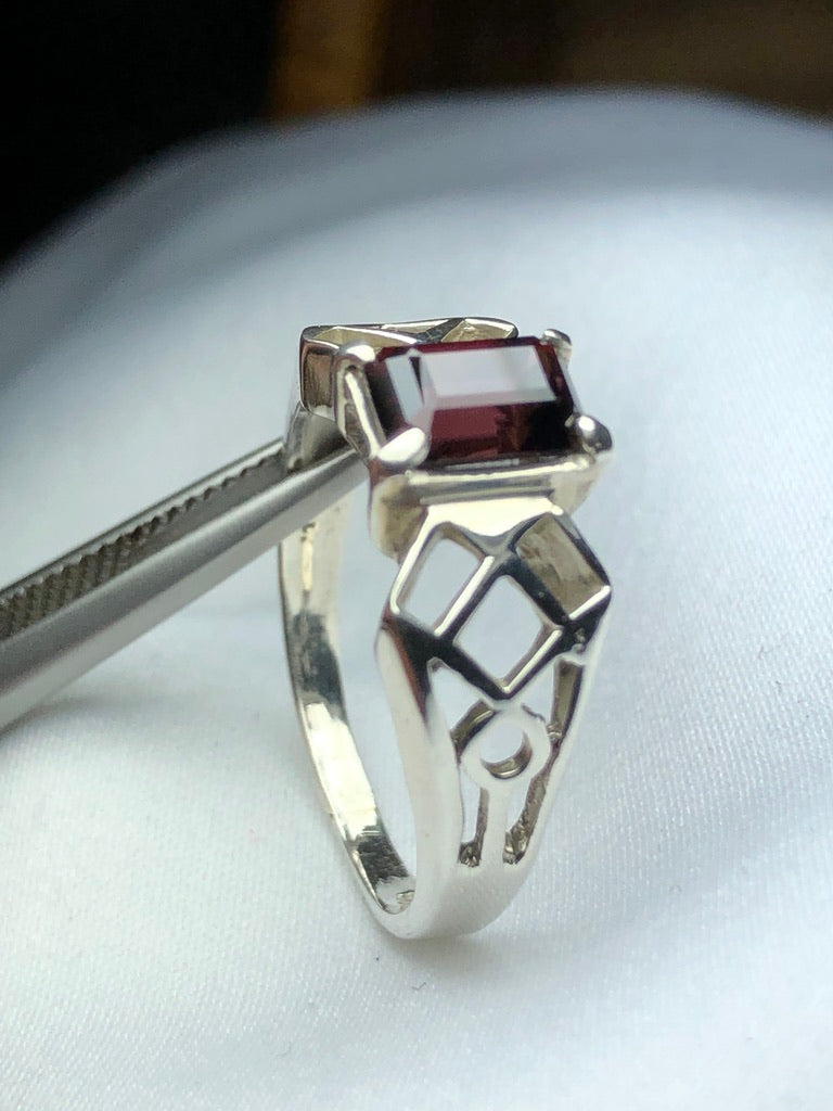 Red Zircon in Silver