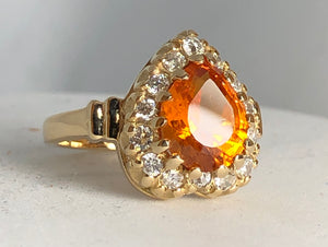 Spessartine Pear and Diamonds