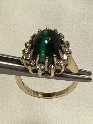 Cats Eye Tourmaline and Diamonds