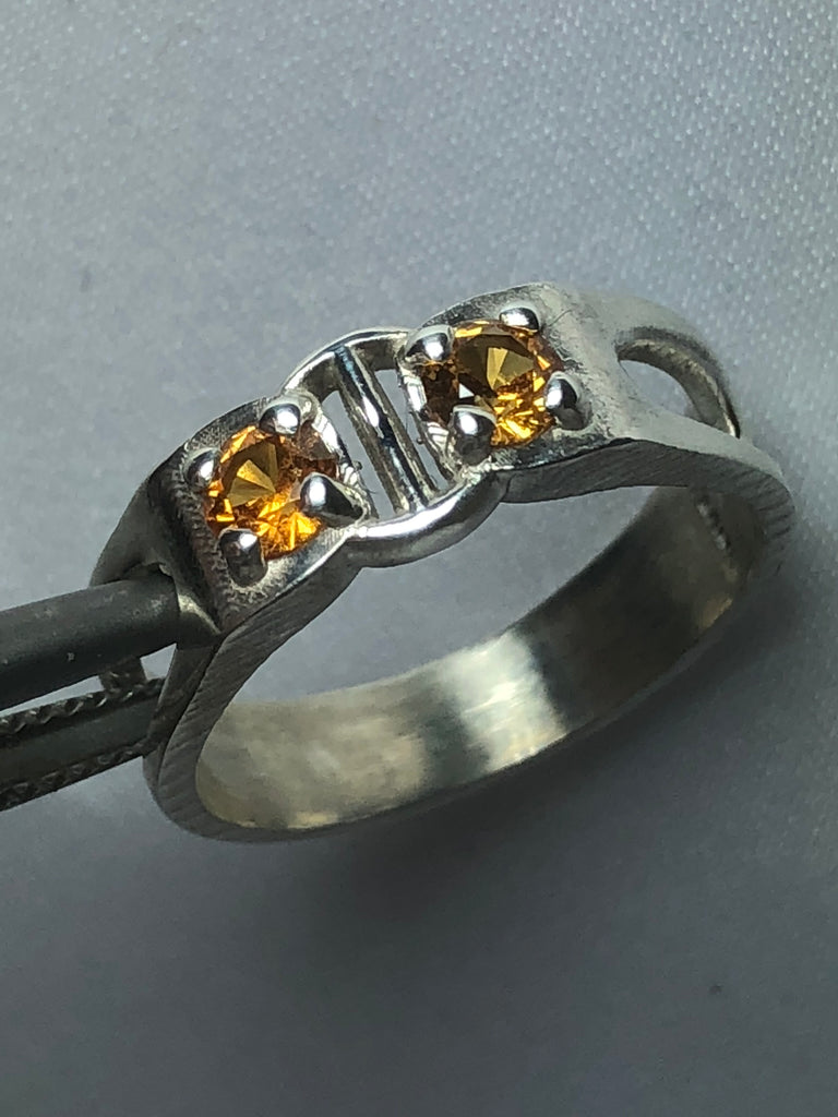 Double Spessartine Silver Ring
