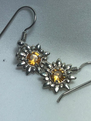Silver Spessartine Flower Earrings