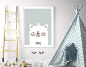 Woodland Nursery - Mr Bear Head Art Print - Rock Salt Prints