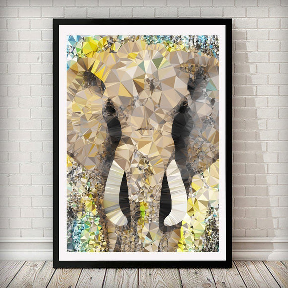Abstract Elephant Animal Art Print - Rock Salt Prints Ltd