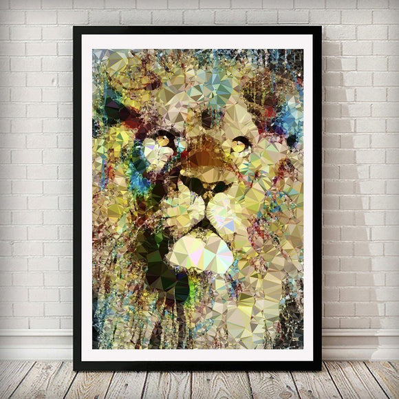 Abstract Lion Animal Art Print - Rock Salt Prints