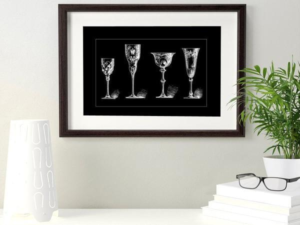 Antique Crystal Glasses Black Art Print - Rock Salt Prints Ltd