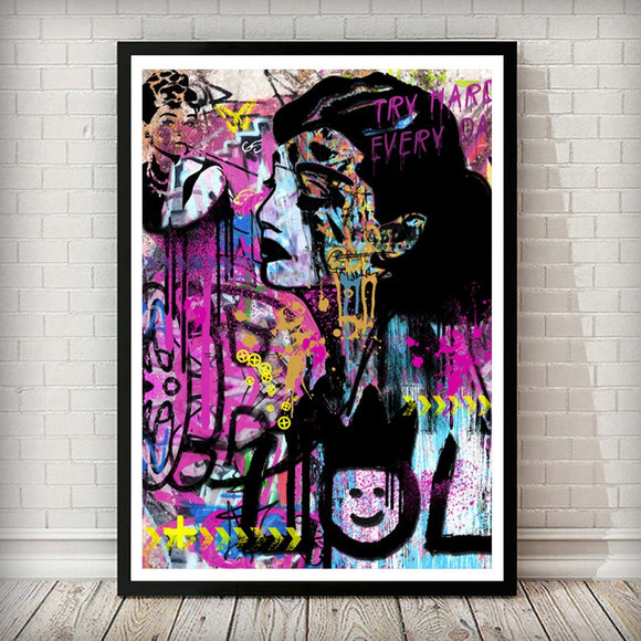 Audrey Hepburn Pop Graffiti Art Print