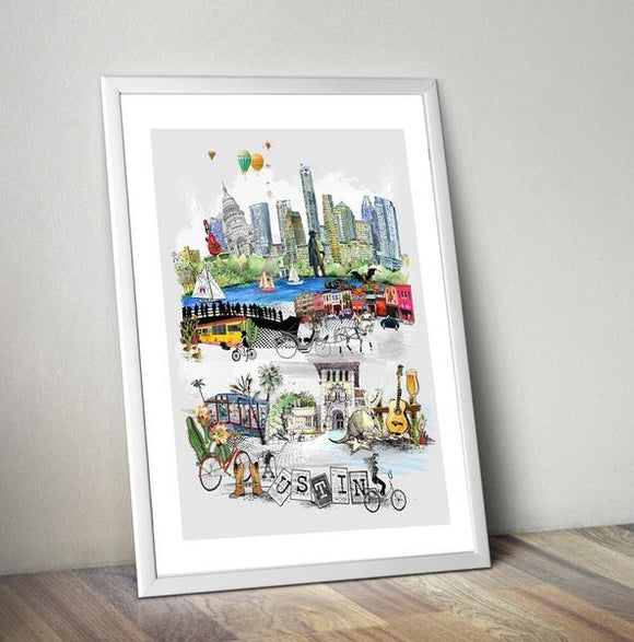 Austin Retro City Print - Rock Salt Prints Ltd