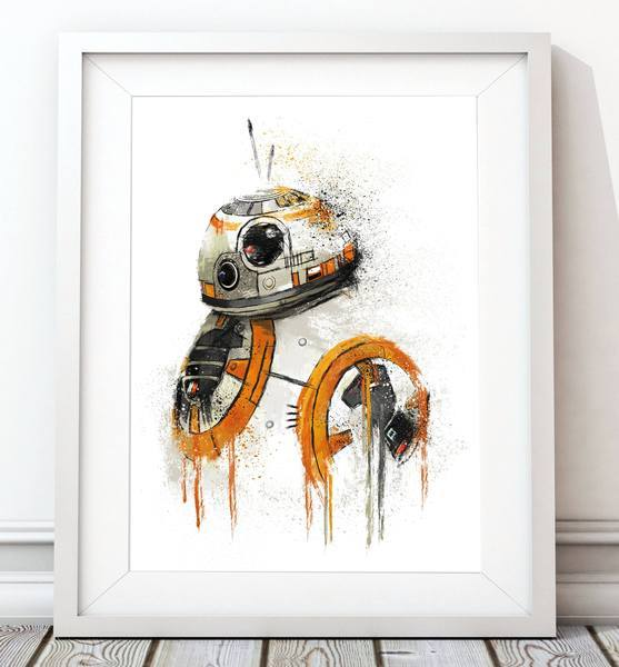 Dripping Star Wars Poster, BB8 Droid Art Print - Rock Salt Prints Ltd