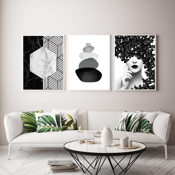 MONOCHROME GALLERY WALL TRIO 033 - Rock Salt Prints