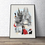 Barcelona Retro City Print - Rock Salt Prints