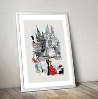 Barcelona Retro City Print - Rock Salt Prints Ltd