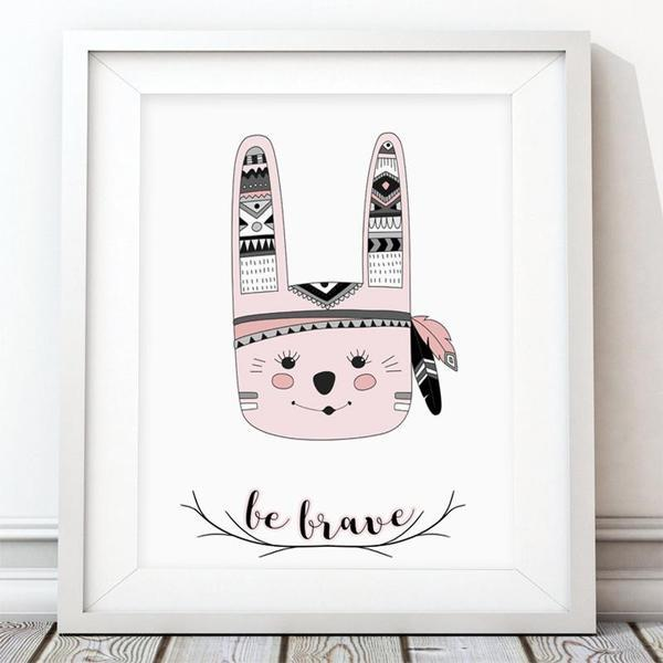 Be Brave Bunny - Girl Nursery Art Print - Rock Salt Prints Ltd