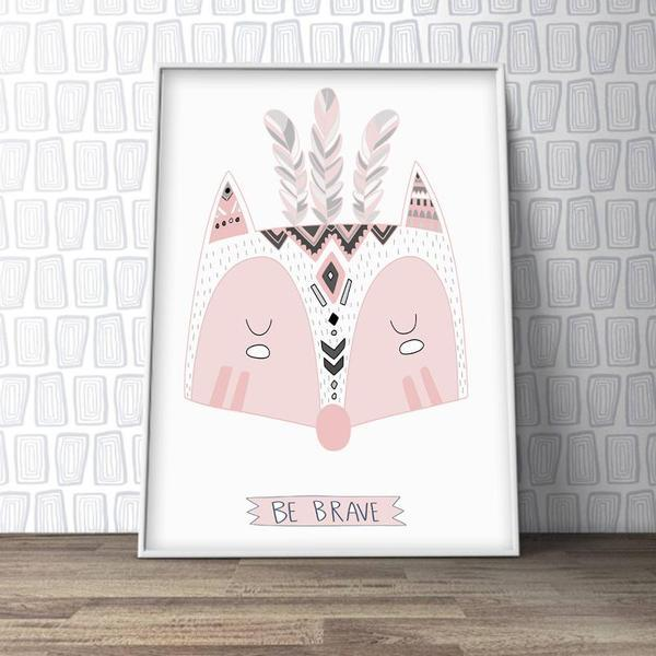 Be Brave Fox - Girl Nursery Art Print - Rock Salt Prints Ltd