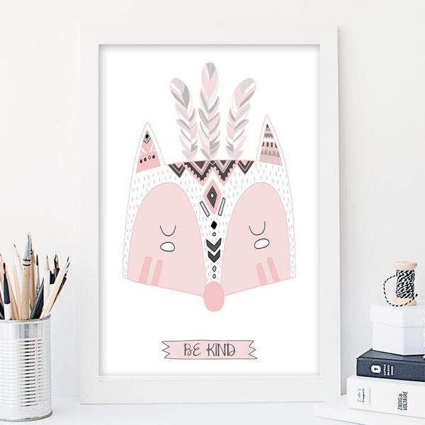 Be kind pink fox - Girl Nursery Art Print - Rock Salt Prints Ltd