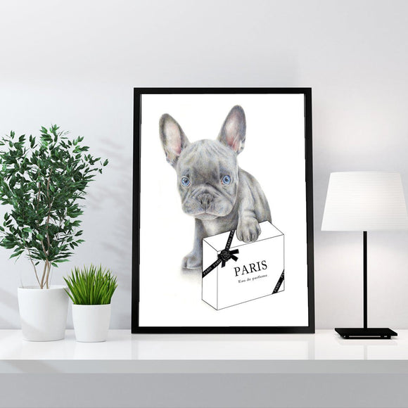Blue French Bulldog Puppy DOG Fashion Art Print - Rock Salt Prints Ltd