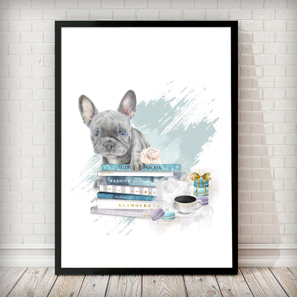 Blue French Bulldog Puppy and Fashion Books Art Print - Rock Salt Prints Ltd
