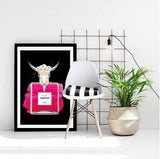 Animal Skull Pink Perfume Bottle Fashion Art Print in black - Rock Salt Prints Ltd