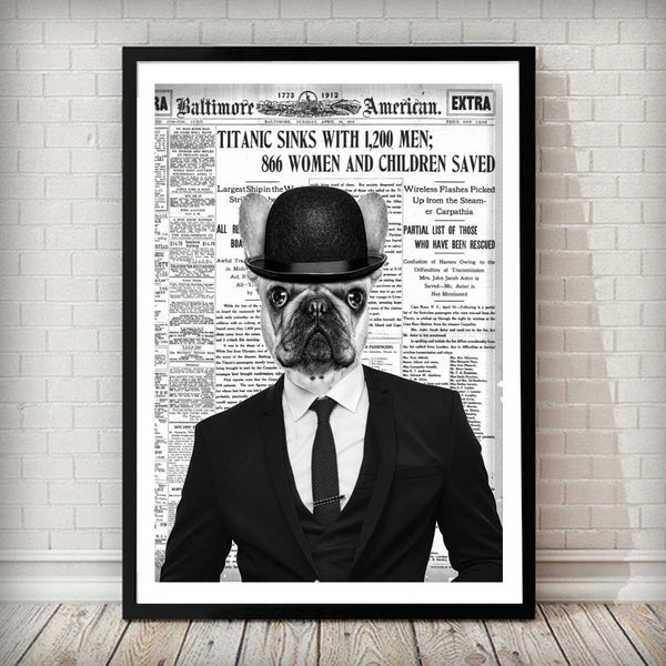 Bulldog Dude - Old News Paper Animal Art Print - Rock Salt Prints Ltd