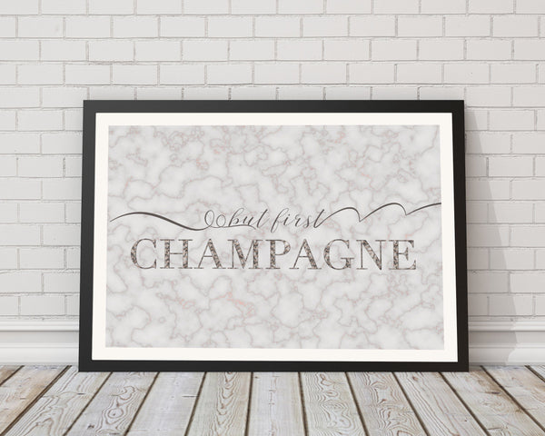 But First Champagne Marble Typography Art Print - Rock Salt Prints