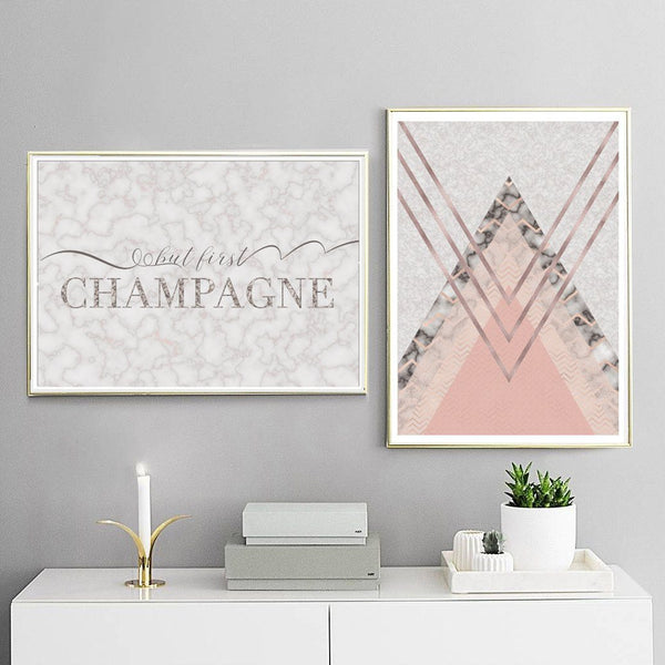 But First Champagne Marble Typography Art Print - Rock Salt Prints Ltd
