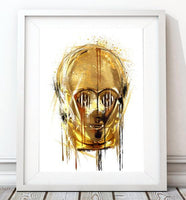 Dripping Star Wars Poster, C3P0 Droid Art Print - Rock Salt Prints Ltd