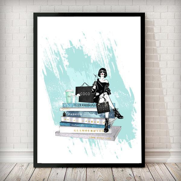Dior Latte / Fashion Books with Girl - Fashion Art Print - Rock Salt Prints Ltd