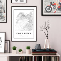Cape Town City Map Art Print - Rock Salt Prints Ltd