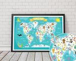 Children's Animal World Map Artwork - Rock Salt Prints Ltd