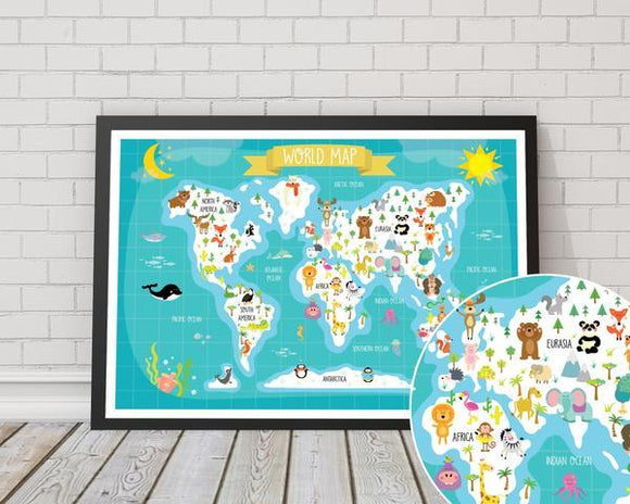 Children's Animal World Map Artwork - Rock Salt Prints