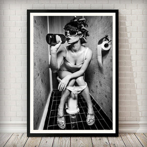 Cloak Room Drink 002 Black and White Art Print - Rock Salt Prints Ltd