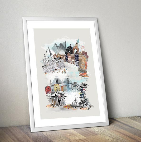 Copenhagen Retro City Art Print - Rock Salt Prints Ltd