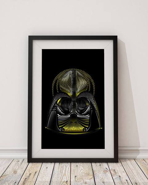 Neon Darth Vader Inspired - Star Wars Art Print - Rock Salt Prints Ltd