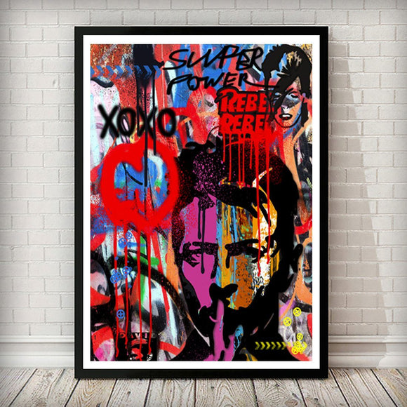 David Bowie Pop Graffiti Art Print