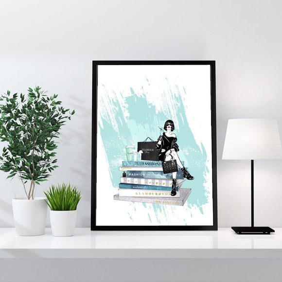 Cafe Latte / Fashion Books with Girl - Fashion Art Print - Rock Salt Prints Ltd