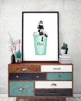 Dior Latte - Lady Sitting Fashion Art Print - Rock Salt Prints Ltd